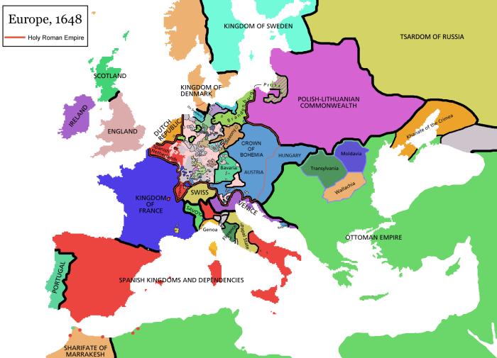 L'Europa dopo la pace di Westfalia (1648)