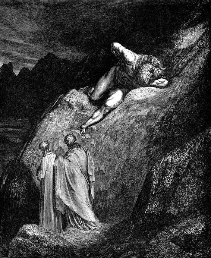 e 'n su la punta de la rotta lacca / l'infamïa di Creti era distesa (vv. 11-12)